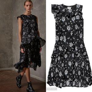 Erdem x H&M   Silk Floral Ruffle Midi Dress Sz 10